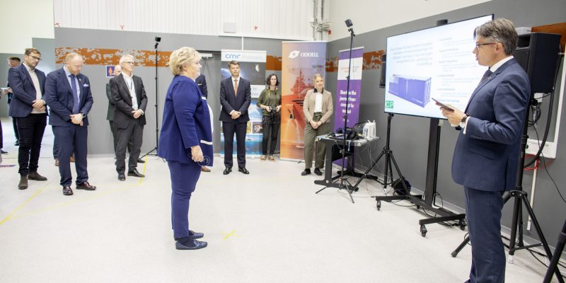 CEO in Prototech, Bernt Skeie, is presenting Ship FC to the Norwegian prime minister Erna Solberg under the launch of Future Fuel Test Centre in october last year.